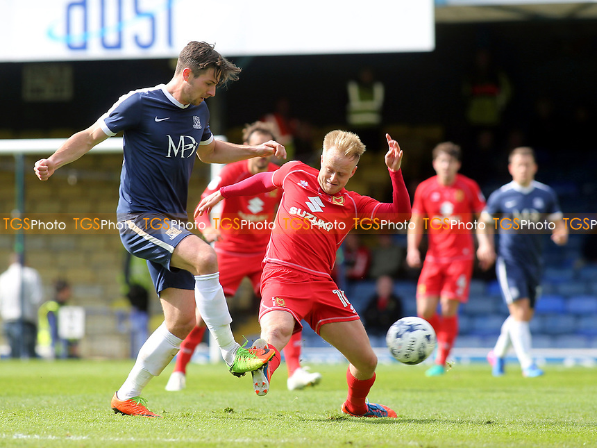 Ben Reeves of MK Dons was shown a yellow card for this challenge during Southend United vs MK Dons, Sky Bet EFL League 1 Football at Roots Hall on 17th April 2017