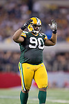 Green Bay Packers defensive lineman B.J. Raji (90) during Super Bowl XLV against the Pittsburgh Steelers on Sunday, February 6, 2011, in Arlington, Texas. The Packers won 31-25. (AP Photo/David Stluka)