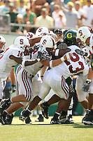 2 September 2006: Tim Sims (14), Ekom Udofia (54), Bo McNally (22), and Brandon Harrison (23) during Stanford's 48-10 loss to the Oregon Ducks at Autzen Stadium in Eugene, OR.