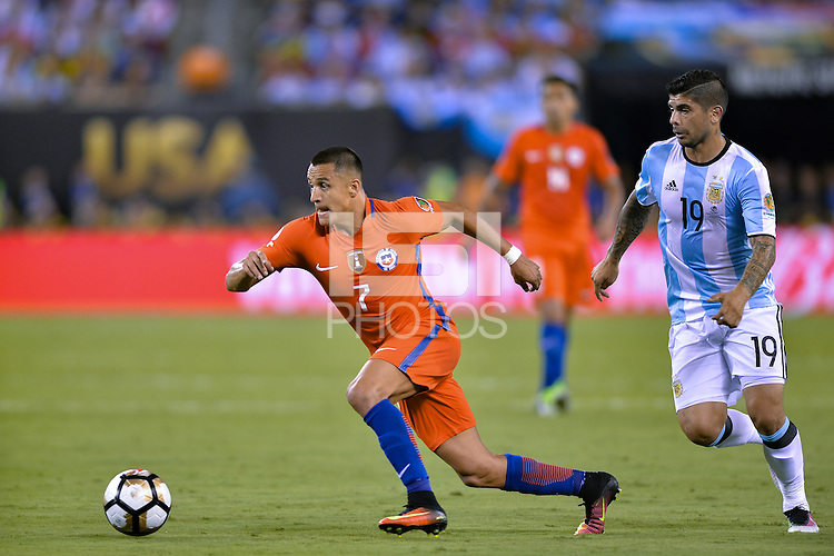 East Rutherford, NJ - Sunday June 26, 2016: Alexis Sanchez during a Copa America Centenario finals match between Argentina (ARG) and Chile (CHI) at MetLife Stadium.