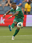 Neil Danns (16) of Guyana scores on this shot against Trinidad and Tobago early in the second half during their Gold Cup match on June 26, 2019 at Children's Mercy Park in Kansas City, KS.<br /> Tim VIZER/AFP