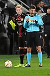 08.11.2018, BayArena, Leverkusen, Europaleque, Vorrunde, GER, UEFA EL, Bayer 04 Leverkusen (GER) vs. FC Zuerich (SUI),<br />  <br /> DFL regulations prohibit any use of photographs as image sequences and/or quasi-video<br /> <br /> im Bild / picture shows: <br /> Julian Brandt (Leverkusen #10), und Schiedsrichter / referee Pawel Gil (SR)<br /> <br /> Foto &copy; nordphoto / Meuter<br /> <br /> <br /> <br /> Foto &copy; nordphoto / Meuter