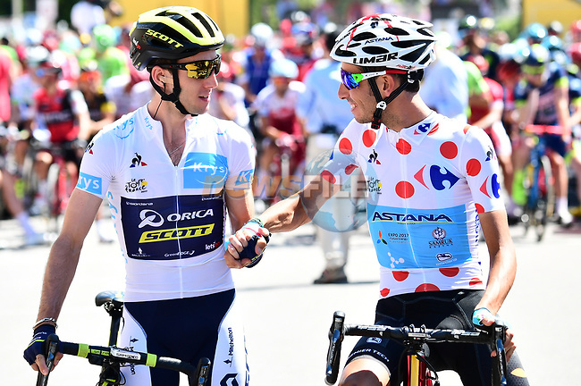 White Jersey Simon Yates (GBR) Orica-Scott and Polka Dot Jersey Fabio Aru (ITA) Astana before the start of Stage 6 of the 104th edition of the Tour de France 2017, running 216km from Vesoul to Troyes, France. 6th July 2017.<br /> Picture: ASO/Alex Broadway | Cyclefile<br /> <br /> <br /> All photos usage must carry mandatory copyright credit (&copy; Cyclefile | ASO/Alex Broadway)