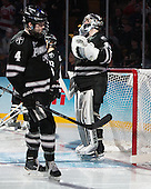 Mark Adams (PC - 4), Jon Gillies (PC - 32) - The Providence College Friars defeated the Boston University Terriers 4-3 to win the national championship in the Frozen Four final at TD Garden on Saturday, April 11, 2015, in Boston, Massachusetts.