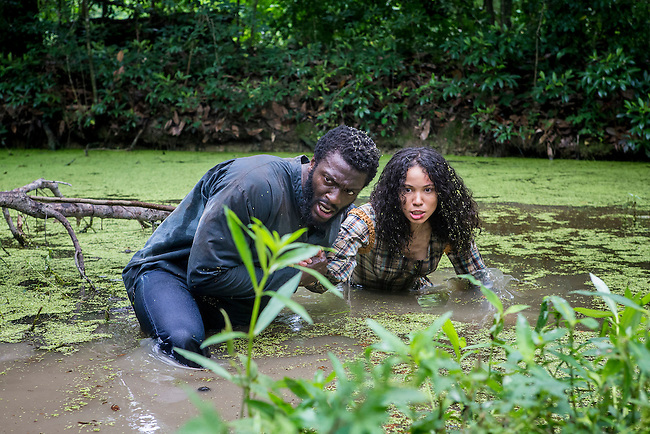 "Aldis Hodge as Noah and Jurnee-Smollett-Bell as Rosalee in WGN America's ""Underground."""