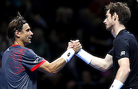 Andy Murray of Great Britain shakes hands with David Ferrer of Spain at the ATP World Tour Finals, The O2, London, 2015