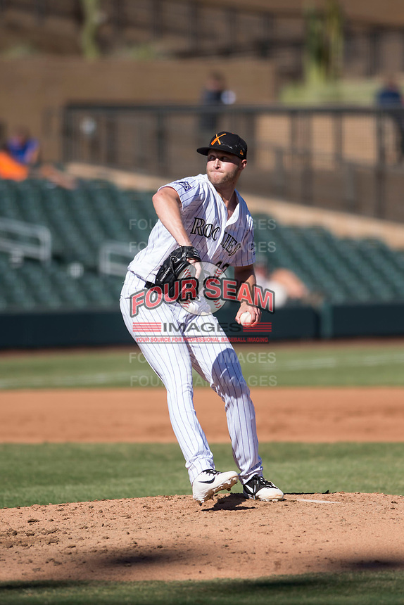 Salt River Rafters relief pitcher Mitch Horacek (32), of the Colorado Rockies organization, delivers a pitch during an Arizona Fall League game against the Glendale Desert Dogs at Salt River Fields at Talking Stick on October 31, 2018 in Scottsdale, Arizona. Glendale defeated Salt River 12-6 in extra innings. (Zachary Lucy/Four Seam Images)
