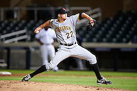 Scottsdale Scorpions pitcher Tyler Waldron #27, of the Pittsburgh Pirates organization, during an Arizona Fall League game against the Salt River Rafters at Salt River Fields at Talking Stick on October 11, 2012 in Scottsdale, Arizona.  Salt River defeated Scottsdale 6-5.  (Mike Janes/Four Seam Images)
