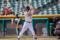 Tim Arakawa (8) of the Salt Lake Bees bats against the Fresno Grizzlies at Smith's Ballpark on September 4, 2017 in Salt Lake City, Utah. Fresno defeated Salt Lake 9-7. (Stephen Smith/Four Seam Images)