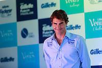 ATENÇÃO EDITOR: FOTO EMBARGADA PARA VEÍCULOS INTERNACIONAIS. SAO PAULO, SP, 06 DE DEZEMBRO DE 2012. APRESENTAÇÃO DO TORNEIO GILLETTE FEDERER TOUR.  o tenista Roger Federer durante a apresentação do novo torneio Gillette Federer Tour,  na manhã desta quinta feira na zona sul da capital paulista. O Gillette Federer aTour reunirá, durante quatro dias, o melhor do tênis mundial, no Ginásio do Ibirapuera, de 6 a 9 de dezembro, com a participação de grandes estrelas como Roger Federer, Tommy Haas, Thomaz Bellucci, Jo-Wilfried Tsonga, Tommy Robredo, Victoria Azarenka, Maria Sharapova, Serena Williams, Caroline Wozniacki, Bob e Mike Bryan e Marcelo Melo e Bruno Soares.  FOTO ADRIANA SPACA - BRAZIL PHOTO PRESS