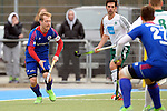 GER - Mannheim, Germany, March 19: During the 1. Bundesliga Herren hockey match between Mannheimer HC (blue) and Uhlenhorst Muehlheim (white) on March 19, 2016 at Mannheimer HC in Mannheim, Germany. Final score 1-1 (HT 0-0). (Photo by Dirk Markgraf / www.265-images.com) *** Local caption *** Jan-Philipp Fischer #2 of Mannheimer HC