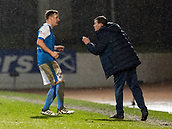 16th March 2018, McDiarmid Park, Perth, Scotland; Scottish Premier League football, St Johnstone versus Hibernian; Tommy Wright St Johnstone Manager gives instructions to Liam Gordon of St Johnstone