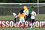 27 June 2008: Bridge's Robert Belair (3) heads the ball against the crossbar, leading to Bridge's first goal. The United States 2009 Under-17 Men's National Team lost to the Bridge FC U16s 1-3 at McPherson Stadium at Bryan Soccer Park in Brown's Summit, NC as part of the U.S. Soccer Federation Development Academy Summer Showcase which is part of the 2007-2008 regular season.