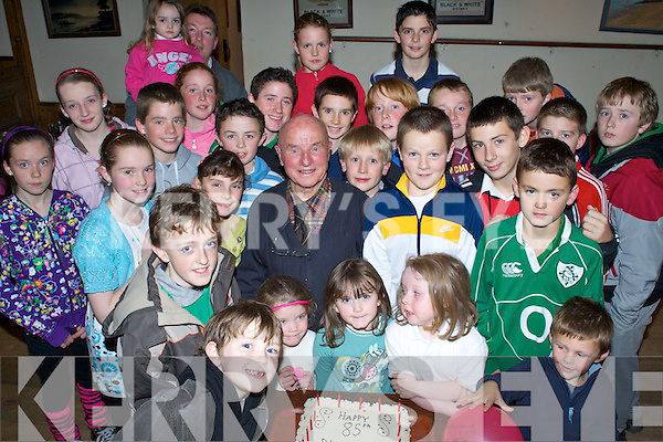 4597.Young at Heart - Mark O'Brien from the Spa, the longest serving secretary of the Community Games celebrated his 85th birthday surrounded by some of the children of the area at the Spa/Fenit/Barrow Community Games Awards Night held in The Oyster Tavern on Friday night....................................................................... ............   Copyright Kerry's Eye 2008