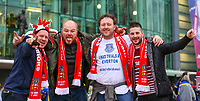 Wigan Warriors fans pose for a picture outside Old Trafford<br /> <br /> Photographer Alex Dodd/CameraSport<br /> <br /> Betfred Super League Grand Final - Wigan Warriors v Warrington Wolves - Saturday 13th October 2018 - Old Trafford - Manchester<br /> <br /> World Copyright &copy; 2018 CameraSport. All rights reserved. 43 Linden Ave. Countesthorpe. Leicester. England. LE8 5PG - Tel: +44 (0) 116 277 4147 - admin@camerasport.com - www.camerasport.com