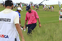 Thomas Aiken (RSA) helps look for partner Yusaku Miyazato's (JPN) ball on the 10th hole during Saturday's Round 3 of the 117th U.S. Open Championship 2017 held at Erin Hills, Erin, Wisconsin, USA. 17th June 2017.<br /> Picture: Eoin Clarke | Golffile<br /> <br /> <br /> All photos usage must carry mandatory copyright credit (&copy; Golffile | Eoin Clarke)
