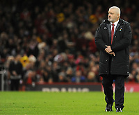 Wales head coach Warren Gatland during the pre match warm up<br /> <br /> Photographer Ian Cook/CameraSport<br /> <br /> 2018 NatWest Six Nations Championship - Wales v Italy - Sunday 11th March 2018 - Principality Stadium - Cardiff<br /> <br /> World Copyright &copy; 2018 CameraSport. All rights reserved. 43 Linden Ave. Countesthorpe. Leicester. England. LE8 5PG - Tel: +44 (0) 116 277 4147 - admin@camerasport.com - www.camerasport.com