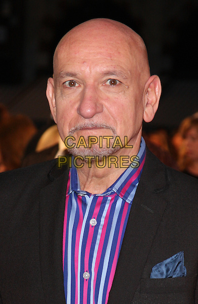 SIR BEN KINGSLEY .World Premiere of 'Made In Dagenham' at the Odeon, Leicester Square, London, England, UK, September 20th 2010..portrait headshot blue red striped pinstripe shirt goatee facial hair.CAP/ROS.©Steve Ross/Capital Pictures