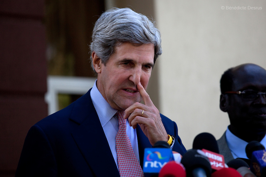 January 8, 2011 - Juba, Sudan - U.S. Senator John Kerry speaks to reporters following his meeting with Southern Sudan President Salva Kiir in Juba, Southern Sudan. Southern Sudan begins voting in a weeklong independence referendum Sunday that is likely to see Africa's largest country split in two. In order for the referendum to pass, a simple majority must vote for independence and 60 percent of the 3.9 million registered voters must cast ballots. Photo credit: Benedicte Desrus