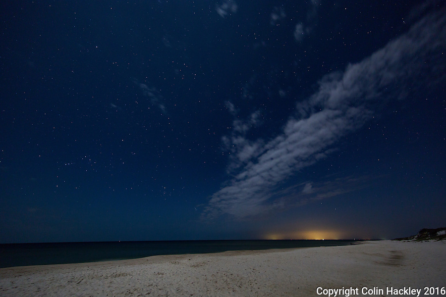 CAPE SAN BLAS, FLA. 4/16/16-Moonlight and starlight mix over the beach T. H. Stone Memorial St. Joseph Peninsula State Park on Cape San Blas, Fla.<br /> <br /> COLIN HACKLEY PHOTO