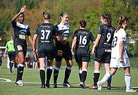 20190921 – LEUVEN, BELGIUM : E. Aalst players are pictured during goal celebration with Henriette Awete (hand raised) and Elien van Wynendale (facing forward)at  a women soccer game between  Oud Heverlee Leuven Ladies B and Eendracht Aalst Ladies on the fourth matchday of the Belgian Division 1 season 2019-2020, the Belgian women's football  national division 1, Saturday 21th September 2019 at the Bruinveld Youth Complex, Domeinstraat in Leuven , Belgium. PHOTO SPORTPIX.BE | SEVIL OKTEM