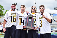 Towson, MD - May 6, 2017: Towson Tigers Jack Adams (16), Towson Tigers Zach Goodrich (14), Towson Tigers Ryan Drenner (22) and Towson Tigers Brian Bolewicki (3) pose with the Championship trophy following their 9-4 win over UMASS at Minnegan Field at Johnny Unitas Stadium  in Towson, MD. (Photo by Phillip Peters/Media Images International)
