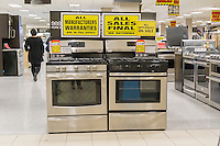 Kitchen appliances at the soon to be closing Sears store in Rego Park in the New York borough of the Queens on Saturday, February 18, 2017. Sears Holdings has deemed the store unprofitable and it will be closing sometime in April. The store is one of the 42 stores they will close in the spring. Sears is also closing 108 Kmart stores. (© Richard B. Levine)