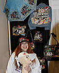 Jane Elissa with her designs - hat, bags, umbrella, jacket raises money for Leukemia and Cancer Research. (Photo by Sue Coflin/Max Photos)