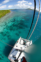 View from the mast on a <br /> Day charter with Kekoa<br /> to the British Virgin Islands<br /> including Sandy Cay and Jost Van Dyke