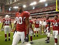 Aug 18, 2007; Glendale, AZ, USA; Arizona Cardinals wide receiver Bryant Johnson (80) against the Houston Texans at University of Phoenix Stadium. Mandatory Credit: Mark J. Rebilas-US PRESSWIRE Copyright © 2007 Mark J. Rebilas