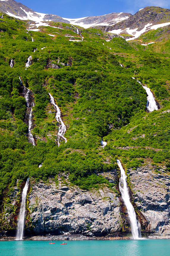 Waterfalls accross Passage Canal from Whittier from the Alaska State Ferry Aurora, Prince William Sound, Alaska.