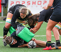 20190928 - Neder Over Hembeek, BELGIUM : Dendermonde's players are pictured warming up before the female rugby match between the Dendermonde RC Women  and AAC Amsterdam Rugby Women, this is the final of the BeNeCup  on Saturday 28th September 2019 at the Nelson Mandela Stadium , Belgium. PHOTO SPORTPIX.BE | SEVIL OKTEM
