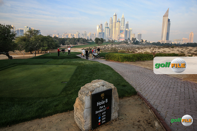 View from the 8th tee during the Pro-Am at the 2016 Omega Dubai Desert Classic, played on the Emirates Golf Club, Dubai, United Arab Emirates.  03/02/2016. Picture: Golffile   David Lloyd<br /> <br /> All photos usage must carry mandatory copyright credit (&copy; Golffile   David Lloyd)
