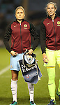 Steph Houghton and Karen Bardsley of Manchester City Women before the Champions League last 16 tie, first leg between Manchester City Women and Brondby IF at the Academy Stadium. <br /> <br /> Photo credit should read: Lynne Cameron/Sportimage