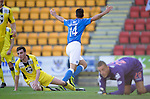 St Johnstone v St Mirren....04.10.14   SPFL<br /> Brian Graham celebrates only to see his anither goal disallowed<br /> Picture by Graeme Hart.<br /> Copyright Perthshire Picture Agency<br /> Tel: 01738 623350  Mobile: 07990 594431