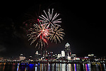 Fireworks bursting over the city of Cincinnati and the Ohio River during the 4th of July celebration, 2015, Cincinnati Ohio, USA