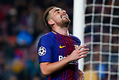 5th December 2017, Camp Nou, Barcelona, Spain; UEFA Champions League football, FC Barcelona versus Sporting Lisbon; Paco Alcacer of FC Barcelona misses a good goal chance