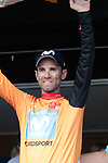 World Champion Alejandro Valverde (ESP) Movistar Team wins Stage 1 and wears the leaders jersey of the Route d'Occitanie 2019, running 175.5km from Gignac-Vallée de l'Hérault to Saint-Geniez-d'Olt-et-d'Aubrac , France. 20th June 2019<br /> Picture: Colin Flockton | Cyclefile<br /> All photos usage must carry mandatory copyright credit (© Cyclefile | Colin Flockton)
