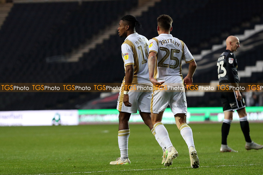 Chuks Aneke of MK Dons is congratulated after scoring the first goal during MK Dons vs Macclesfield Town, Sky Bet EFL League 2 Football at stadium:mk on 17th November 2018