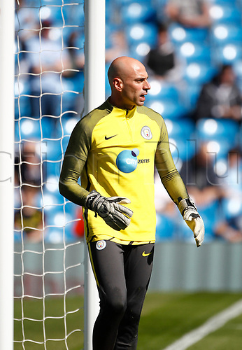 April 8th 2017, Etihad Stadium, Manchester, Lancashire, England; EPL Premier league football, Manchester City versus Hull City; Manchester City keeper Willy Caballero warms up before the game