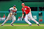 24 September 2011: Washington Nationals pitcher Chien-Ming Wang runs on the basepath after getting an RBI single against the Atlanta Braves at Nationals Park in Washington, DC. The Nationals defeated the Braves 4-1 to even up their 3-game series. Mandatory Credit: Ed Wolfstein Photo