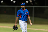 AZL Cubs 2 starting pitcher Emilio Ferrebus (43) walks off the field between innings of an Arizona League game against the AZL Indians 2 at Sloan Park on August 2, 2018 in Mesa, Arizona. The AZL Indians 2 defeated the AZL Cubs 2 by a score of 9-8. (Zachary Lucy/Four Seam Images)