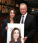 Max Klimavicius with Sara Bareilles as she receives a\her Sardi's Portrait at Sardi's Restaurant on April 3, 2018 in New York City.