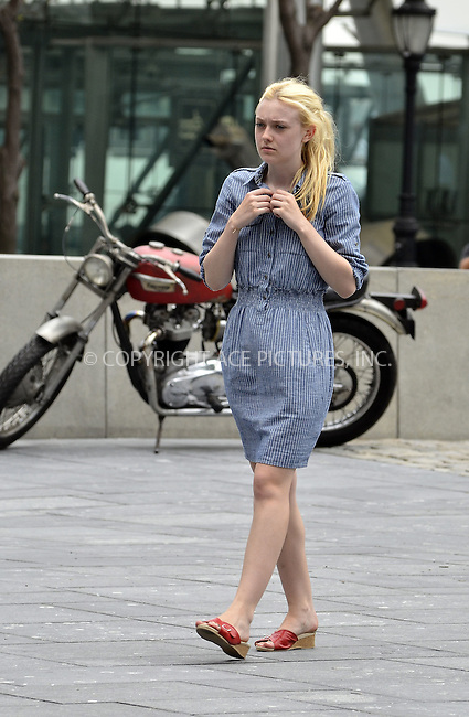 WWW.ACEPIXS.COM....July 19 2012, New York City....Actress Dakota Fanning on the downtown set of the new movie'Very Good Girls' on July 19 2012 in New York City....By Line: Curtis Means/ACE Pictures......ACE Pictures, Inc...tel: 646 769 0430..Email: info@acepixs.com..www.acepixs.com