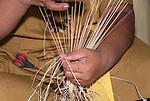 Traditional weaving by a local in Funafuti, Tuvalu