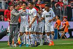 14.04.2018, BayArena, Leverkusen , GER, 1.FBL., Bayer 04 Leverkusen vs. Eintracht Frankfurt<br /> im Bild / picture shows: <br /> Torjubel / Jubel / Jubellauf,    nach dem 1:1 Trainer / Headcoach Niko Kovic (Eintracht Frankfurt),  <br /> Makoto Hasebe (Frankfurt #20),  <br /> Simon Falette (Frankfurt #3),  <br /> Marco Fabian (Frankfurt #10),  <br /> Jonathan De Guzman (Frankfurt #6),  <br /> <br /> <br /> Foto &copy; nordphoto / Meuter
