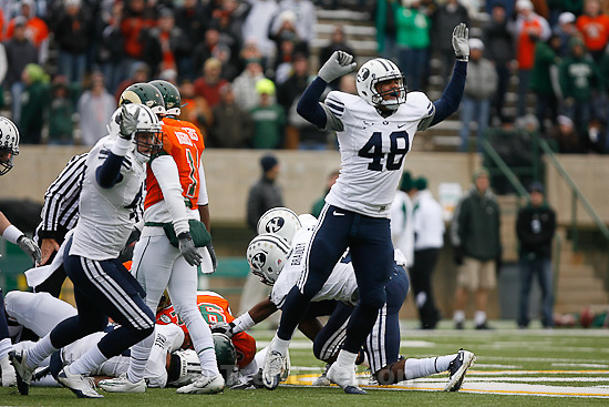 Trent Nelson  |  The Salt Lake Tribune.BYU vs. Colorado State, college football, Saturday, November 13, 2010. BYU linebacker Jameson Frazier (48) , BYU linebacker Zac Stout (47) celebrate a fumble recovery