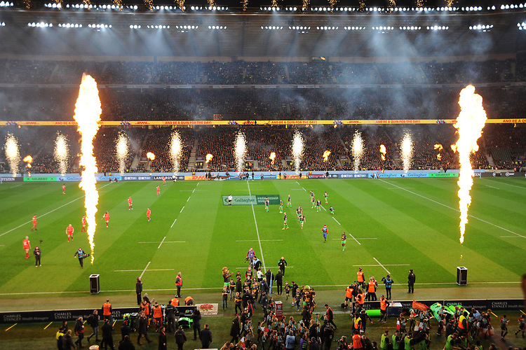 Fireworks before the kick off of Big Game 12 in the Gallagher Premiership Rugby match between Harlequins and Leicester Tigers at Twickenham Stadium on Saturday 28th December 2019 (Photo by Rob Munro/Stewart Communications)