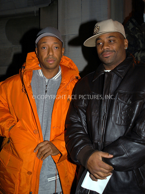 "Celebrities gather in New York to discuss how to defeat President Bush ""Victory Campaign 2004."" PICTURED: RUSSELL SIMMONS AND DAMON DASH. New York, February 4, 2004. Please byline: AJ SOKLANER/NY Photo Press.   ..*PAY-PER-USE*      ....NY Photo Press:  ..phone (646) 267-6913;   ..e-mail: info@nyphotopress.com"