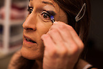 Karen Scot, 56, puts on makeup at her North Fork, California home before her first day teaching as a transgendered woman at Yosemite High School in Oakhurst, California. Scot has been a science teacher for 30 years.